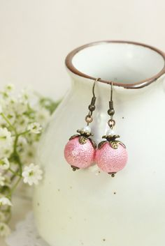Pink Pearl Earrings Drops, Glass Pearl Dangles, Pink Earrings, Pink Pearl Drops, Earrings under 20, BFF Gifts, Bridesmaids Gift by TrinketHouse on Etsy