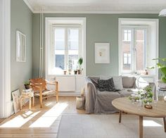 my scandinavian home: A calm Swedish apartment in green and cognac Green paint walls at home Living Room Green, Green Rooms, New Living Room, Home And Living, Living Room Decor, Living Spaces, Room Colors, House Colors, Light Green Walls