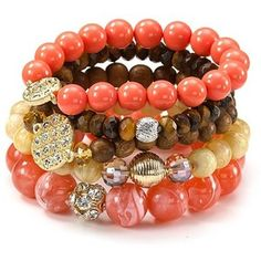Coral beaded bracelet set