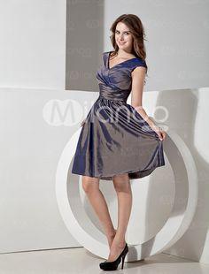 Silvery Taffeta V-neck Knee Length A-line Bridesmaid Dress - Milanoo.com