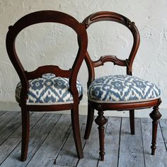 Victorian Balloon Back Chair with Ikat by territoryhardgoods