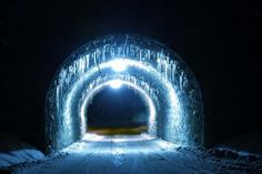 Ice tunnel.  This is the train bridge passing over a south entrance to Binney Park taken December 21, 2008.  Found on the internet without attribution.