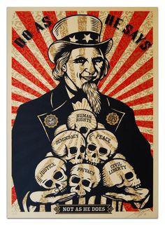 ☯☮ॐ American Hippie Psychedelic Art ~ Uncle Sam Skulls - OBEY Shepard Fairey street artist . revolution OBEY style, street graffiti, illustration and design posters. Art Obey, Shepard Fairey Art, Shepard Fairy, Sam Shepard, Pop Art, Activist Art, Urbane Kunst, Propaganda Art, Institute Of Contemporary Art