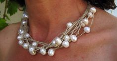 Necklace natural linen colour freshwater pearls Mediterranean Style handmade