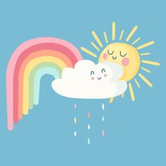 Happy sun and clouds with rainbow Free V. Sonne Illustration, Cloud Illustration, Rainbow Drawing, Cloud Drawing, Rainbow Quote, Rainbow Art, Pastel Clouds, Cartoon Clouds, Cute Sun