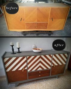 """Mid-century modern sideboard repaired and painted at the """"paint bar"""". #trophy #linen #curiowash #missmustardseedsmilkpaint"""