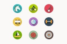 9 Summer Games Icons by Creative VIP on @creativemarket