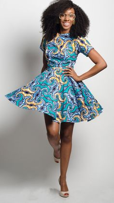 The Von Me Dress in Turks and Caicos the perfect African print fit and flare dress Ankara dress