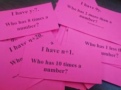 """I Have, Who Has?"" cards on basic algebraic equations - wonderful idea for this, & free download"