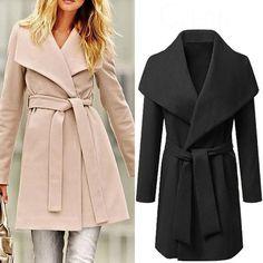 b14784792dee pour femmes cascade avec ceinture Italien drapé long Trench-coat VESTE  BLAZER. Kelly · mode