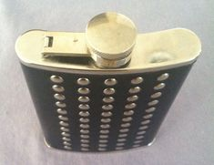 Flask 8 oz Stainless Steel Black Genuine Leather Wrap Screw Cap Liquor Pocket | eBay