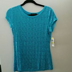Turqoise  sparkly  t shirt Turqoise  sparkly short sleeve t shirt INC International Concepts Tops Tees - Short Sleeve