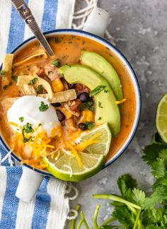 Creamy Chicken Tortilla Soup is one of my favorite fall soup recipes. It's creamy, it's delicious, and it's filled with all of my favorite Tex-Mex ingredients. This easy tortilla soup recipe is perfect for any night of the week, and it's so easy to save and reheat later! Healthy Chicken Tortilla Soup, Slow Cooker Chicken Healthy, Easy Chicken Recipes, Best Fast Food, Fall Soup Recipes, Garlic Parmesan Chicken, Chicken And Vegetables, Stuffed Peppers, Video