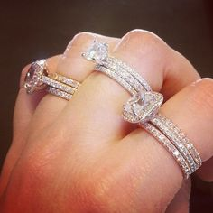 Two bands are always better than one...in rose, white, or yellow gold.  Stack 'em up!