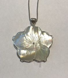 """Sterling Silver Mother Of Pearl Flower Pendant Signed ATI 24"""" Chain 2 1/2""""   eBay"""