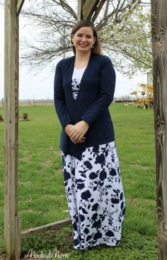 Modest Spring Fashion - Blue Maxi dress with a navy blue cardigan from Stitch Fix!
