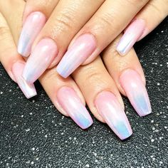 Gel coffin nails long nails baby boomers French Fade and chrome nail art