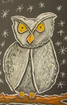 Art with mrs. seitz: chalk owls art making podzim, škola, kresby. Owl Art, Bird Art, First Grade Art, Chalk Pastel Art, Animal Art Projects, Scratch Art, Autumn Art, Winter Art, Art Lessons Elementary