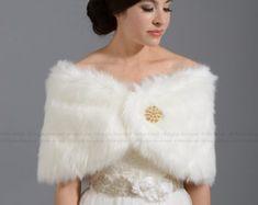 02141815b86 Ivory faux fur wrap bridal wrap faux fur shrug faux fur stole faux fur shawl  faux fur cape A001. Bridal ShrugWedding BoleroWedding ...