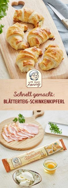 Recipes Snacks Finger Foods The fast classic - puff pastry ham. Whether at a party as finger food or as a quick dinner for the family. Ham dumplings are always a hit. Quick Recipes, Quick Easy Meals, Pizza Recipes, Cake Recipes, Fingers Food, Fast Dinners, Albondigas, Snacks Für Party, Tortellini