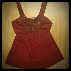 !SALE!  Charlotte russe tank top Deep red with brass colored metal details.  No holes or stains. Charlotte Russe Tops Tank Tops