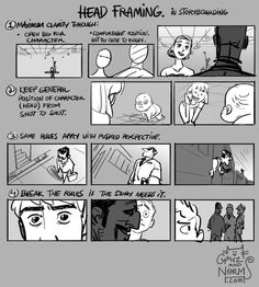 Griz and Norm Tuesday Tips - Head Framing (in storyboarding) Clarity is key when dealing with the head, especially the eyes when storyboarding. More to come on eye direction and framing (staging) in general. Norm # storyboard # tips Storyboard Drawing, Animation Storyboard, Animation Reference, Drawing Reference, Storyboard Film, Animation News, Pose Reference, Bd Comics, Marvel Comics