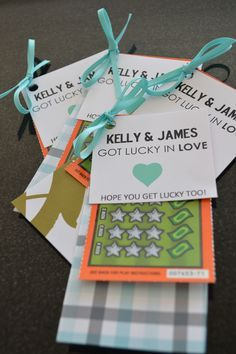 Lucky in Love wedding shower game prize or an idea for favours. $1 Lotto scratch tickets