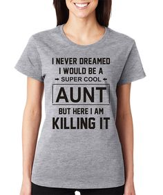 Take a look at this SignatureTshirts Gray 'Super Cool Aunt' Crewneck Tee today!