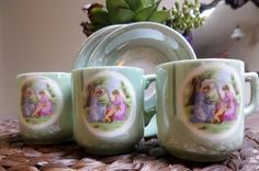 Three demitasse cups and saucers by ItsJustStuFFFF on Etsy
