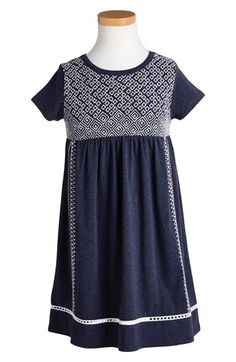 Free shipping and returns on Tucker + Tate Embroidered Short Sleeve Dress (Toddler Girls, Little Girls & Big Girls) at Nordstrom.com. Intricate geometric embroidery at the bodice and side seams stands out on a heathered dress made from a comfy stretch-cotton blend. The swingy gathered skirt is perfectly finished with an airy crocheted inset at the hem.