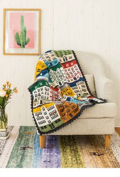 Shereo's crochet pattern+video tutorial of colorful towns blanket Rubrics, Have Time, Hand Fan, Crochet Patterns, Blanket, Knitting, Handmade, Colorful, Crochet Chart