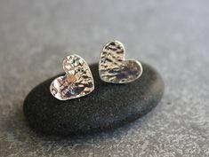 Stud earrings, sterling silver heart ear studs, heart earrings, bridal earrings, silver earrings, everyday earrings on Etsy, 92.80₪