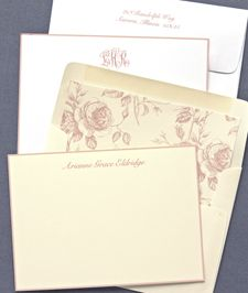 personalized peach hand bordered correspondence cards