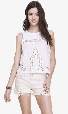 CROPPED EMBROIDERED TANK | Express