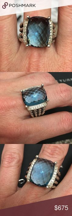 """David Yurman Wheaton Hampton Blue Topaz Ring David Yurman 16x12mm Hampton Blue Topaz Diamond Wheaton Ring Size 6 1/2. Comes with its original Yurman box.  From our personal collection. She's cared for it extremely well and it's in almost immaculate condition. See the info on my Posh """"About"""" page to find additional info about lower pricing David Yurman Jewelry Rings"""