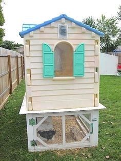 Chicken Coop - While many people enjoy farm fresh eggs, not everyone has the benefit of owning their own chickens. But for those who do —like this woman who is obsessed with raising chickens— the expenses can really add up. Fortunately, one clever DIYer figured out how to combine her love of chickens with her love of upcycling... View Article Building a chicken coop does not have to be tricky nor does it have to set you back a ton of scratch.