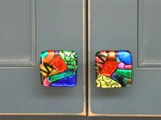 Discontinued 2 Dichroic Fused Glass Knob Blue Teal Cabinet Knobs Pulls Cabinet Hardware Fixture Furniture Dresser Hand Painted Dressers