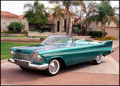 """In Plymouth advertised this car as """"Suddenly it's full years ahead! Even today, the clean lines and somewhat of an absence of chrome stand out among vehicles of the mid-to-late Fifties. My Dream Car, Dream Cars, Print Image, Vintage Cars, Antique Cars, Convertible, Plymouth Cars, Plymouth Belvedere, Counting Cars"""