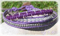 """Bracelet wrap """"camaïeu violet"""", trois rangs : Bracelet par lily-et-rose"""