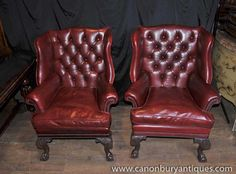 Leather Sofa Pair Victorian Leather Chesterfield Arm Chairs Wingback Sofa Armchairs