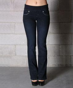 Look at this #zulilyfind! Dark Wash Denim Leah Pull-On Bootcut Jeans by Lola Jeans #zulilyfinds