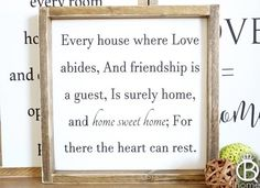 Every House Where Love Abides Framed Wood Sign - QueenBHome