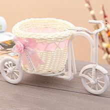 New Cute Plastic Rattan Wicker Tricycle Vase Wedding Decoration Wedding Home Decoration Bandwagon Vase Free Shipping 6Z-HD011(China (Mainland))