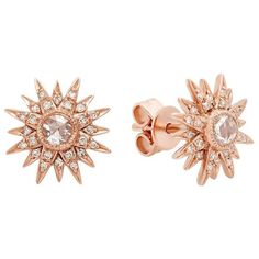 Kenza Lee Sunburst Stud Earrings (€970) ❤ liked on Polyvore featuring jewelry, earrings, accessories, stud earrings, charm jewelry, sparkly earrings, charm earrings, earring jewelry and sparkle jewelry