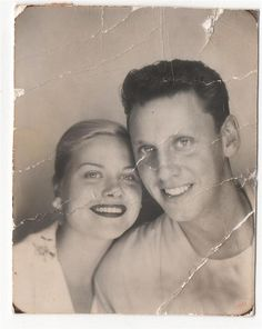 +~ Vintage Photo Booth Picture ~+  Beautiful couple ~ she has a Grace Kelly quality to her.