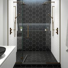 inspiration for hexagon tiles in the bathroom - Eigen Huis en Tuin, Large Tile Bathroom, Black Tile Bathrooms, Bathroom Floor Tiles, Shower Floor, Bathroom Layout, Bathroom Interior Design, Wall Tile, Black Bathroom Floor, Bathroom Ideas