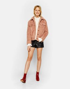 Faux shearling jacket. Discover this and many more items in Bershka with new products every week