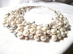 Multi Strand Pearl Necklace Fine Wedding Jewelry by DreamsFactory
