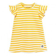 Ruffled Sleeve Striped Organic Cotton Dress Yellow  Mini Rodini
