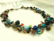 Boho necklace multi colour gemstones & crystals